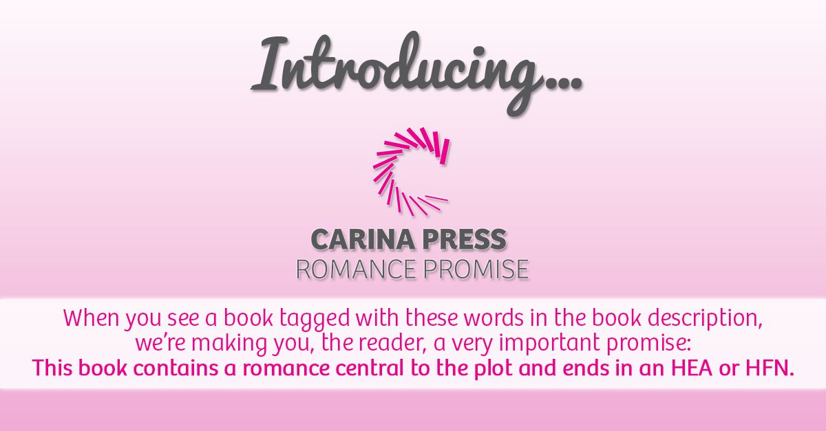 Introducing the Carina Press Romance Promise. An HEA/HFN in every romance. It's a promise! https://t.co/oFrBcRHKhE https://t.co/jFlUxF5wko