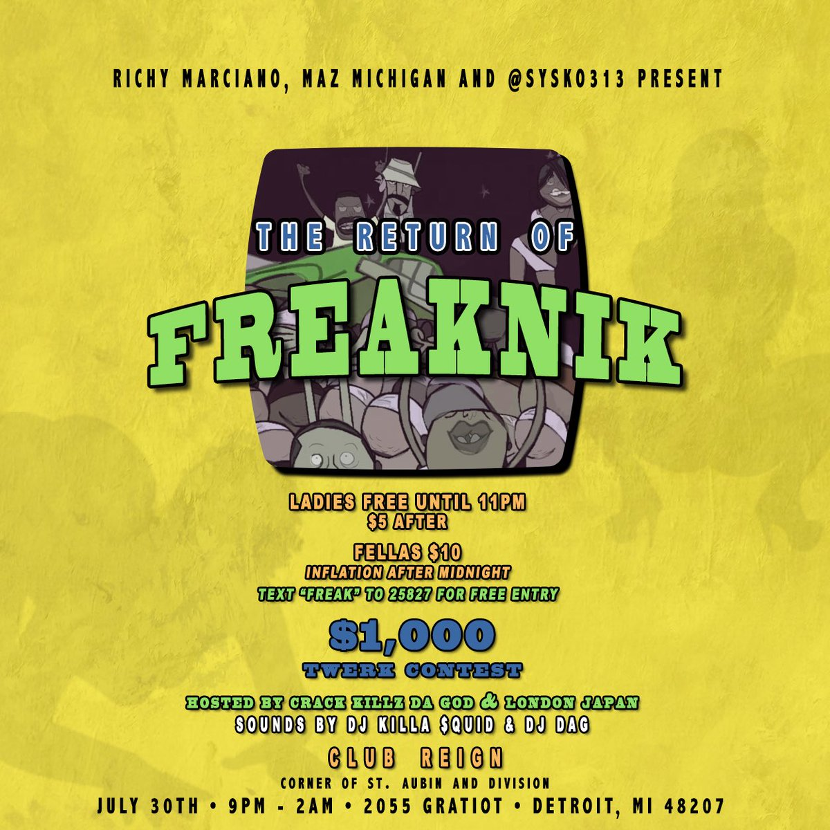 "Text ""FREAK"" to 25827 for free entry 