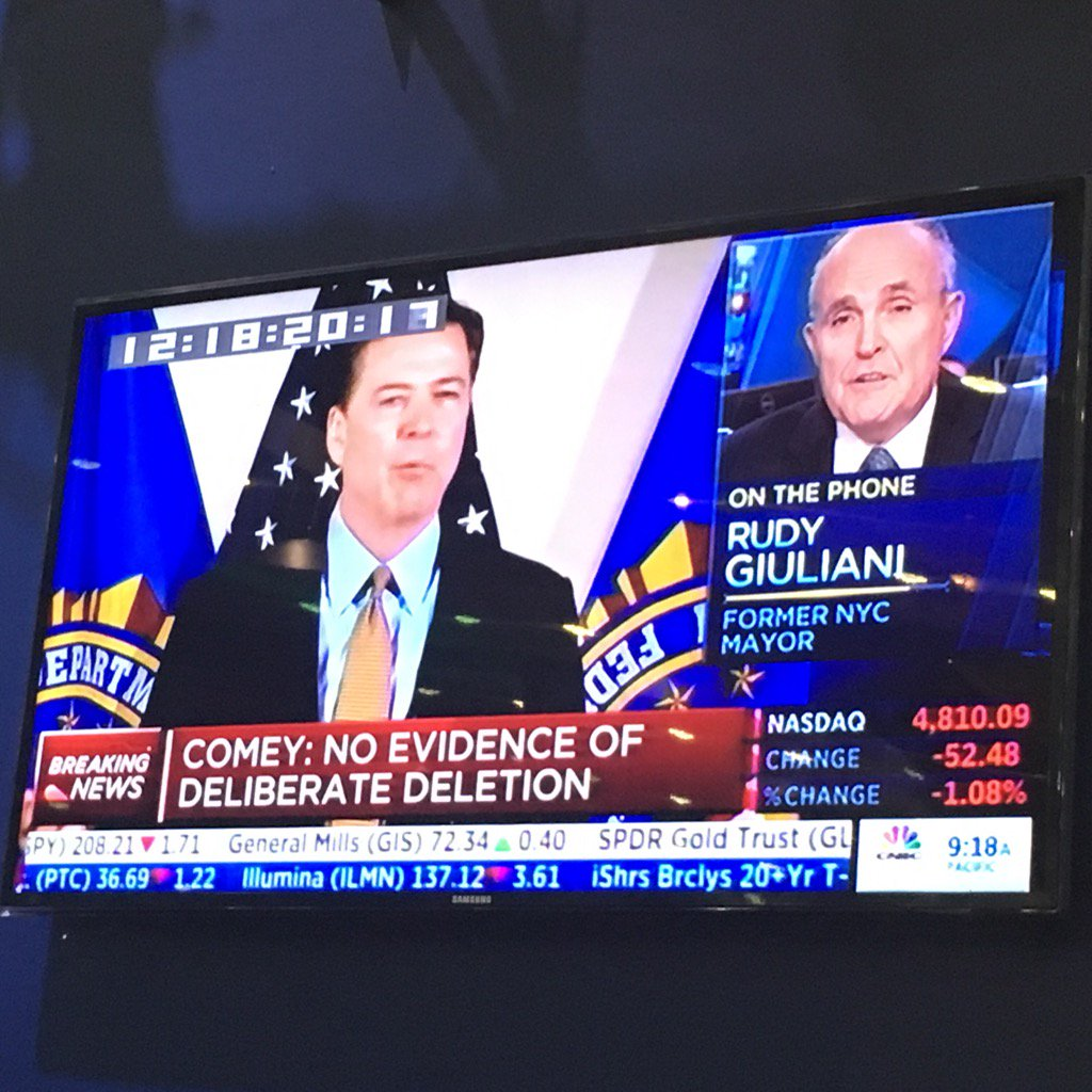 """Rudy Giuliani to @cnbc: Comey worked for me, am shocked about announcement. """"Extremely hard conclusion to justify."""" https://t.co/Zmr05tyISv"""