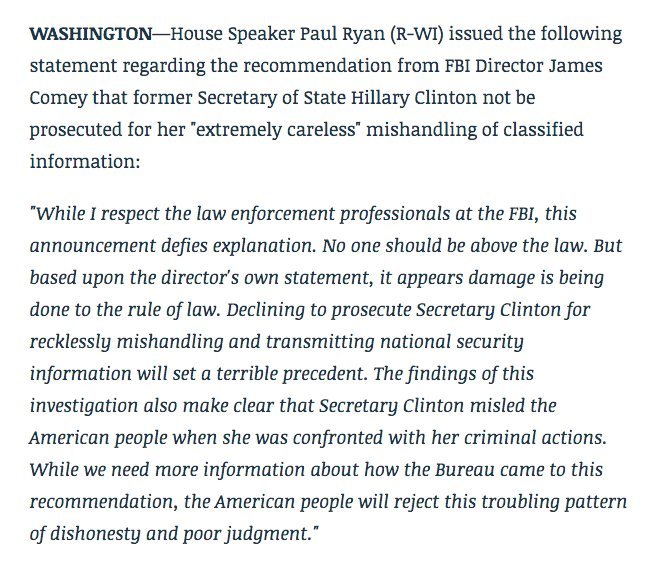 While I respect the professionals at the FBI, this announcement defies explanation. No one should be above the law. https://t.co/OqctxglquI