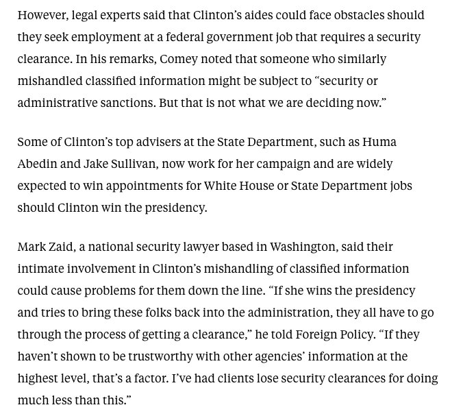 Some of Clinton's top aides may not get clearances for future WH jobs, says @MarkSZaidEsq https://t.co/FyAs1p073I https://t.co/pC2rPgJrFC