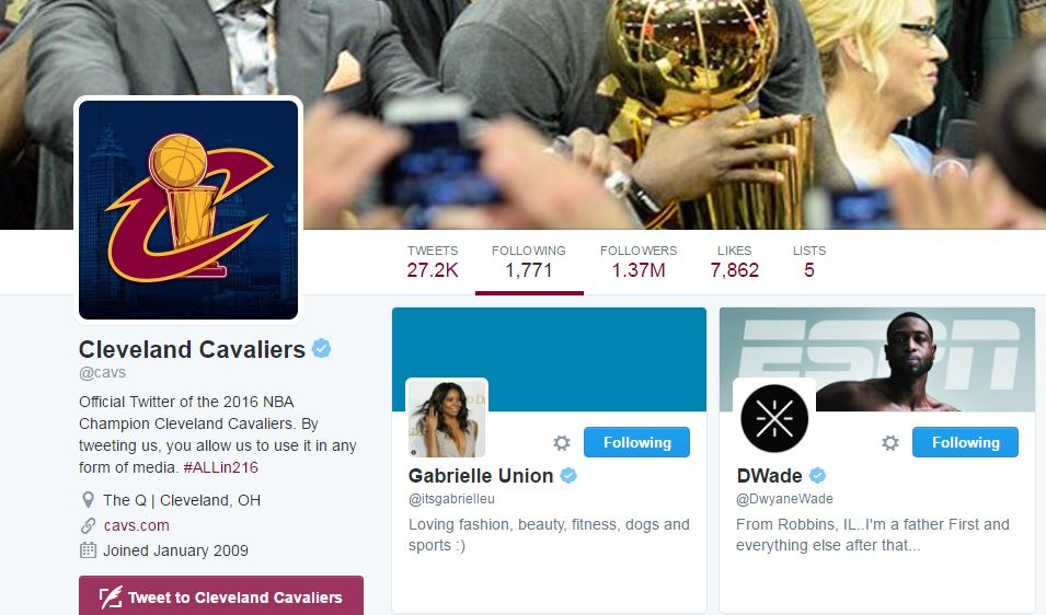 The @cavs just started following @DwyaneWade & @itsgabrielleu. Is this a sign? https://t.co/X9W9tonDCz