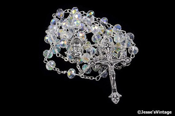 Catholic Rosary Glass Half AB Aurora Borealis Silver Traditional https://t.co/fw5H60IXLK https://t.co/QIQpLPvEvN