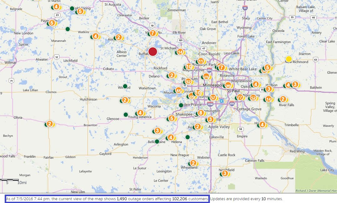Power Outage: 100k+ customers now without power according to Xcel. #mnwx https://t.co/STZk9F9iP5