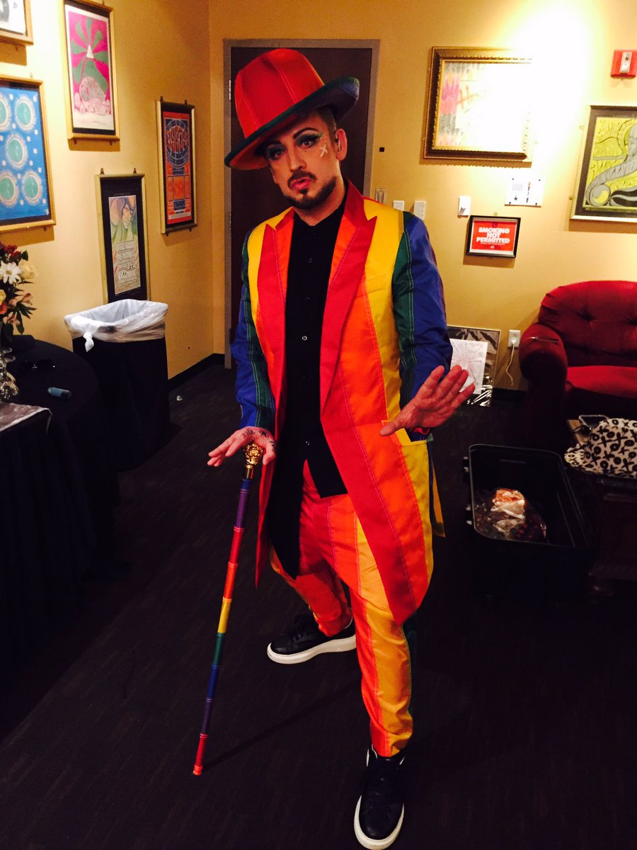 Styled - @BoyGeorge - Rainbow warrior in Orlando! #OrlandoLove #OrlandoStrong https://t.co/6YteWRa4GJ