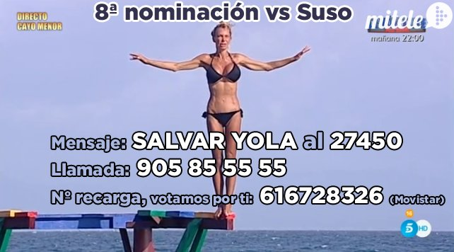 8ª nominación ¿Suso o Yola? SALVAR YOLA al 27450 o llamada 905855555 o recarga 616728326 #YolaGanadora #SVFINAL #SV https://t.co/vxXVO6hX1J