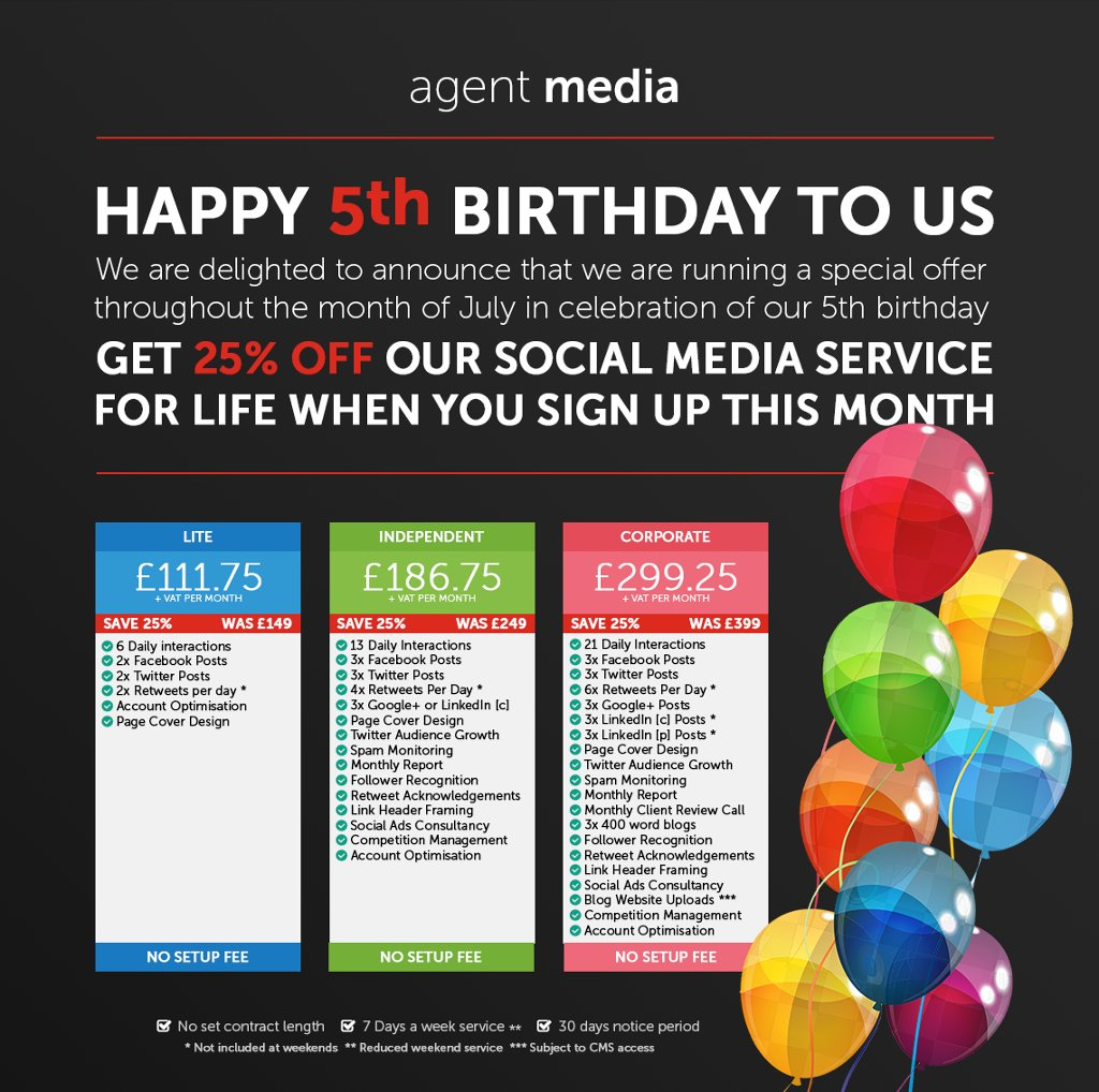 Wish Us A Happy 5th Birthday And Get 25% Off Our Social Media Packages  https://t.co/3Yg6fhFjiU #EstateAgents https://t.co/kyGBXTrLsL