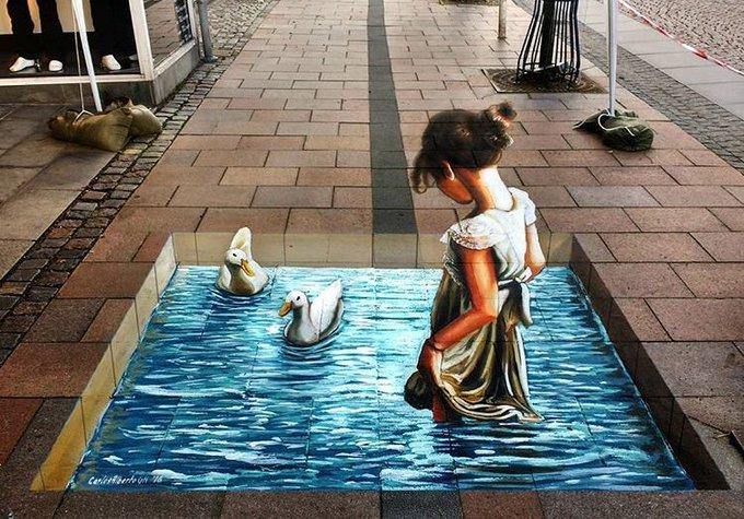 RT @GoogleStreetArt: Class new 3D Street Art by Carlos Alberto in Brande Denmark   #art #mural #graffiti #streetart