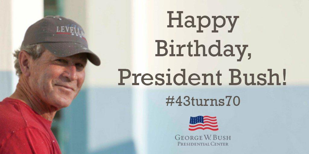 Help us wish President Bush a Happy 70th Birthday! Sign his digital card, here: https://t.co/HBp5LPjqi6 #43turns70 https://t.co/YzO59SIrZv