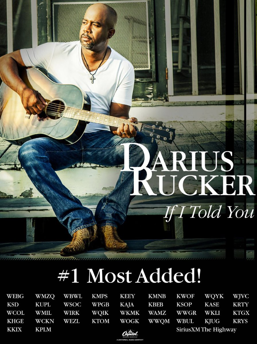 """#1 Most Added and @DariusRucker's best song to date - """"If I Told You."""" Every station should add this song. Period. https://t.co/fxB3yvySuw"""