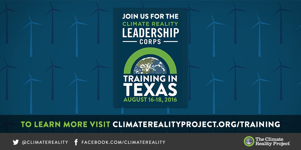 I'm thrilled to be heading to Houston to train @ClimateReality Leaders. Join me: https://t.co/EemjL21Fjc #CRinTexas https://t.co/SQak1nj6sG