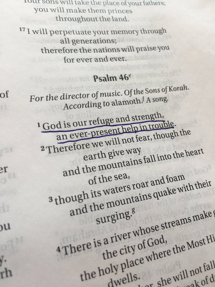 When we have no words, we turn to The Word. Jesus is with us. Even now. Read Psalm 46 today & be encouraged. #Hope https://t.co/vjLlAt9Gqg
