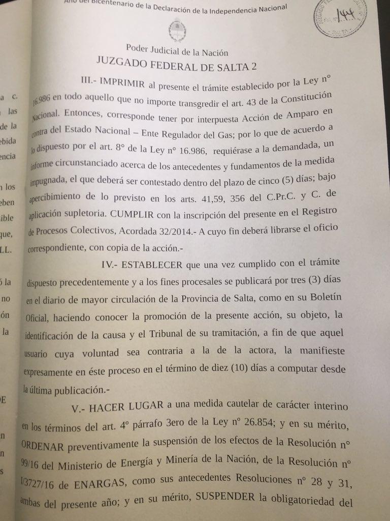 Tarifazo del Gas SUSPENDIDO PARA LA PROVINCIA DE SALTA. https://t.co/21oXXx7aVY