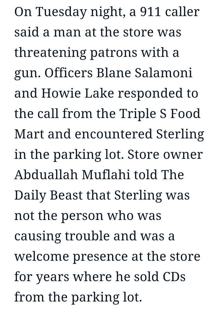 Turns out #AltonSterling wasn't even the guy who 911 call was about according to the store owner via @thedailybeast https://t.co/la7fmdYNoY