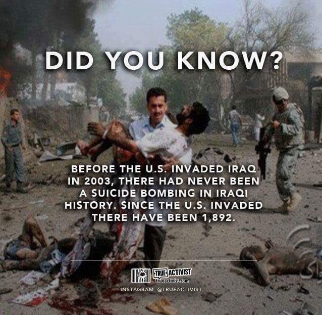 #هل_تعلم أن #العراق لم يشهد في تاريخه أي #تفجير_انتحاري قبل غزو #أمريكا له عام ٢٠٠٣، منذ الغزو ١٨٩٢ تفجير. #الإرهاب https://t.co/qSBSXXkfP8