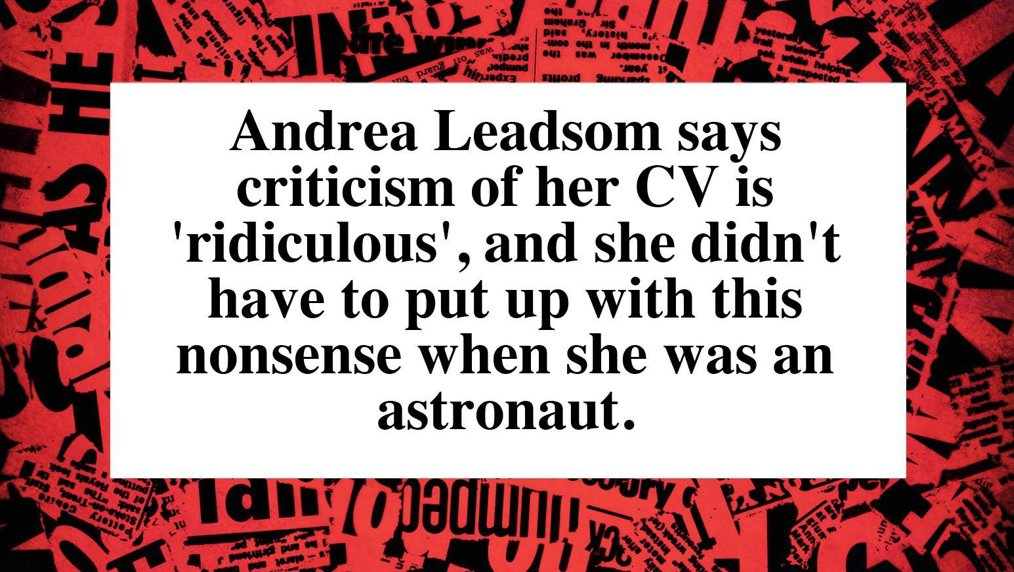 Leadsom hits back at critics: https://t.co/Bwfd4vVWNW