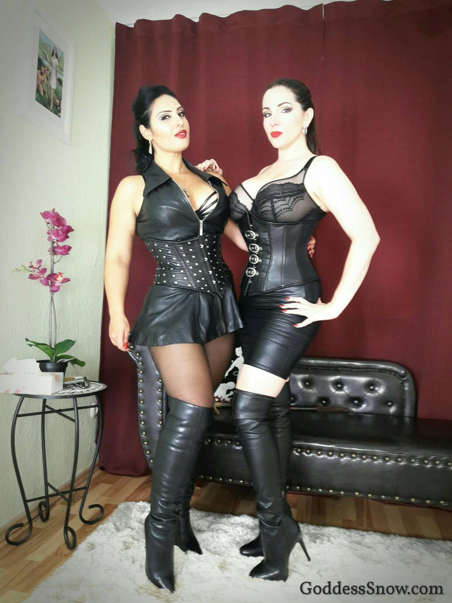 Busty beauties in leather. Day 1 of filming with finished. #femdom #dominatrix #leather