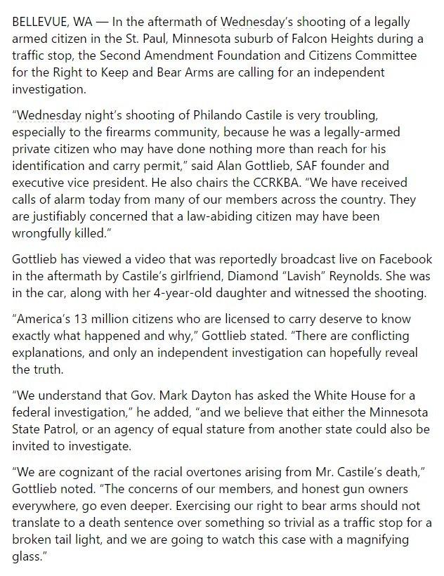 Full Second Amendment Foundation statement on Philando Castile: https://t.co/DFrD3egFDh