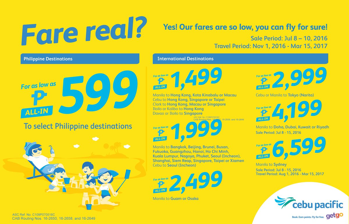 We're not kidding! The new CEBSeatSale is fare real! Book now!