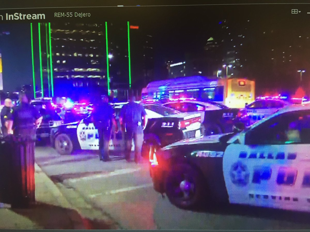 The #shooting has stopped for now but still a very tense scene in downtown #Dallas. # https://t.co/sy7lA85Iwt