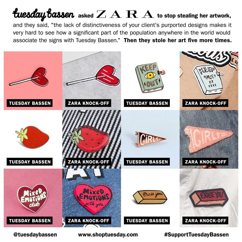 Zara has ripped @tuesdaybassen and others' work. Their response? We're bigger than you.  https://t.co/T4BhyAwnXN https://t.co/8gchYrrRbs