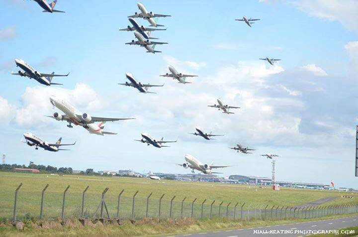 Mulit-image of aircraft taking off @DublinAirport  via Niall Keating