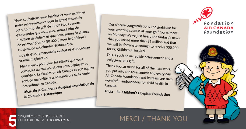 The @AirCanada Foundation is proud to make a difference in the life of sick children.