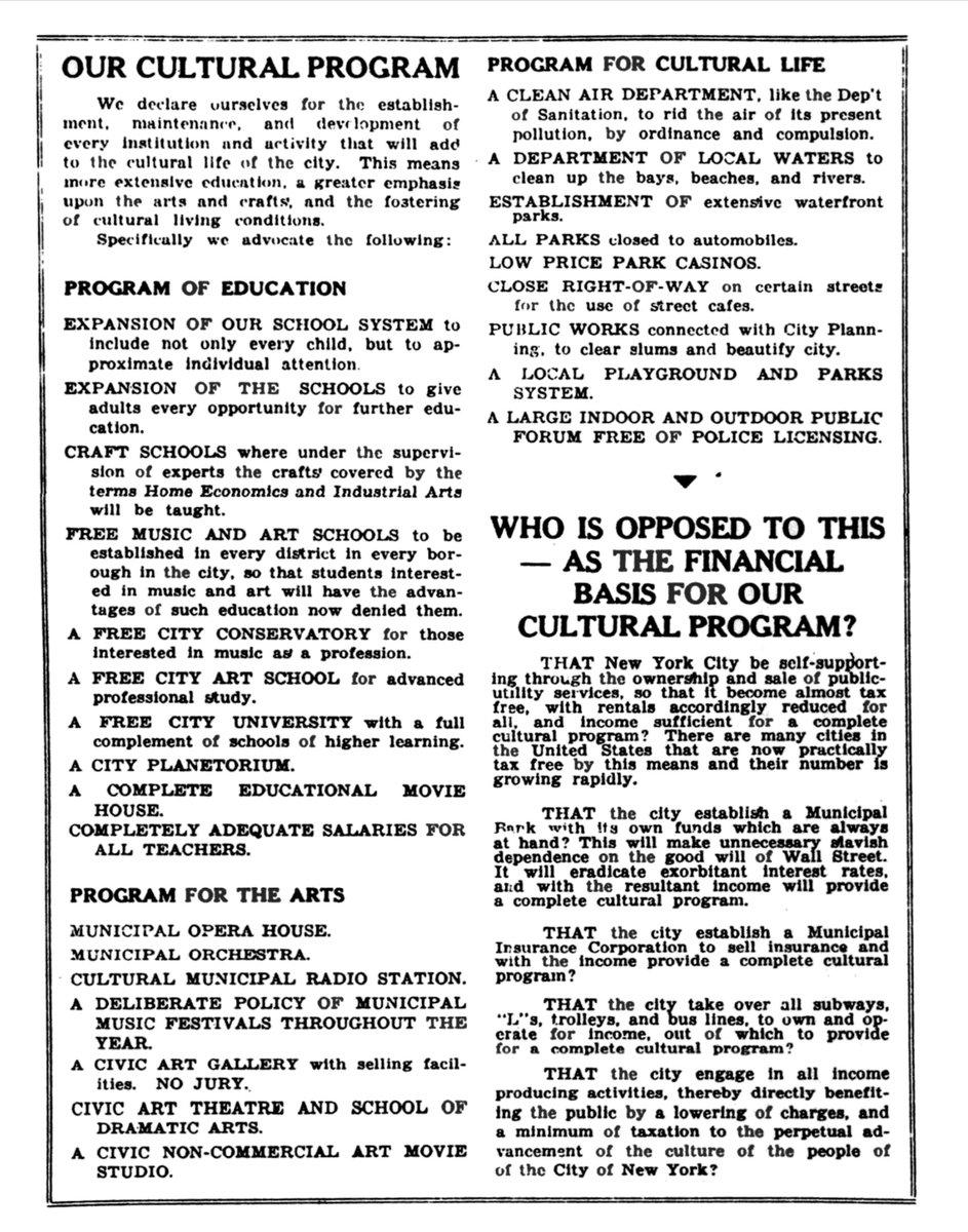1933年にバーネット・ニューマン(後に抽象表現主義を代表する画家)がニューヨーク市長選挙に立候補したときのマニフェスト。 https://t.co/W9GYD4Yabg