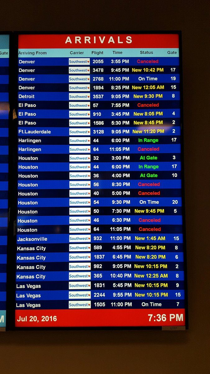 Some delays and cancellations posted for ARRIVALS. Please check with Southwest Airlines for details. #DAL https://t.co/R63U3yZtk4