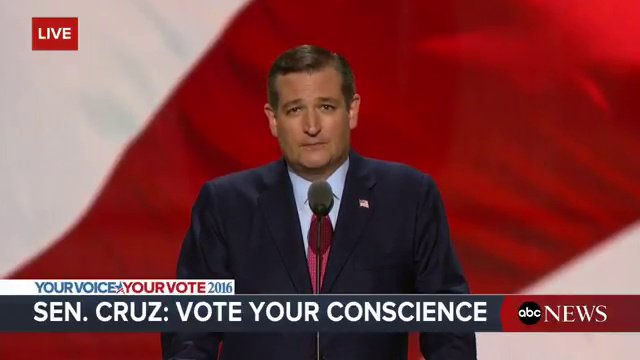 Kudos Ted #Cruz for staying true and not giving in to the #GOPConvention hype. https://t.co/16dHXLQYAl https://t.co/bGWi6hTLpk""