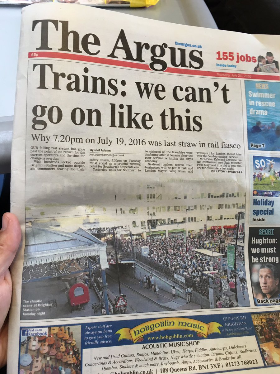 Today front page on @brightonargus #trainpain https://t.co/RuFf8H3IPO