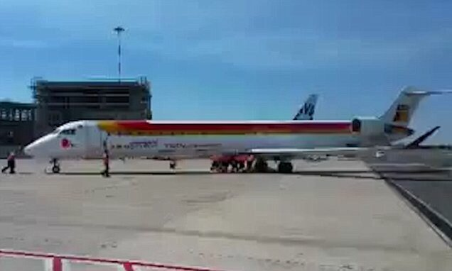 The incredible moment airport workers PUSH a 36-tonne passenger