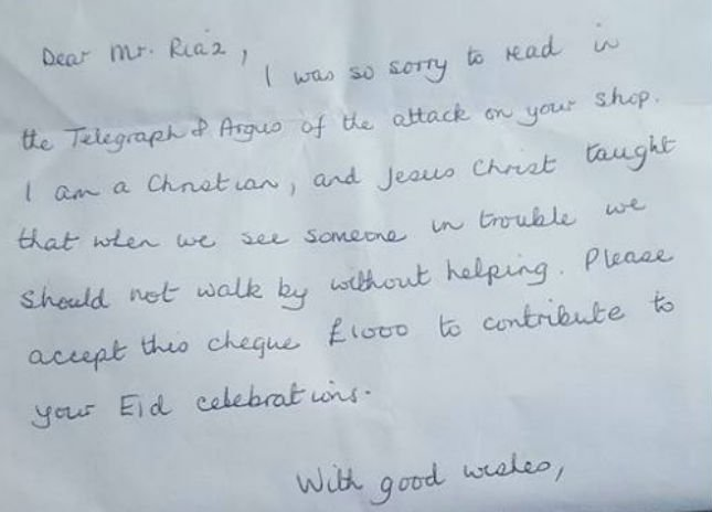 An anonymous Christian woman gave £1000 to this Muslim family after their shop was attacked