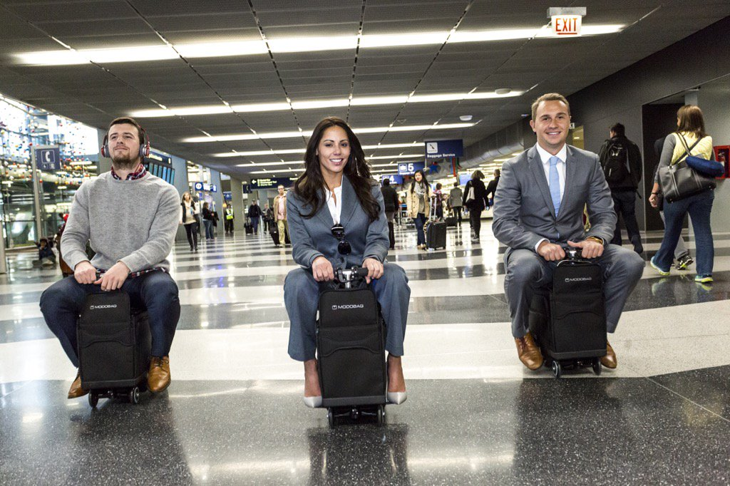 If the future involves me riding my luggage around an airport, I'm here for it
