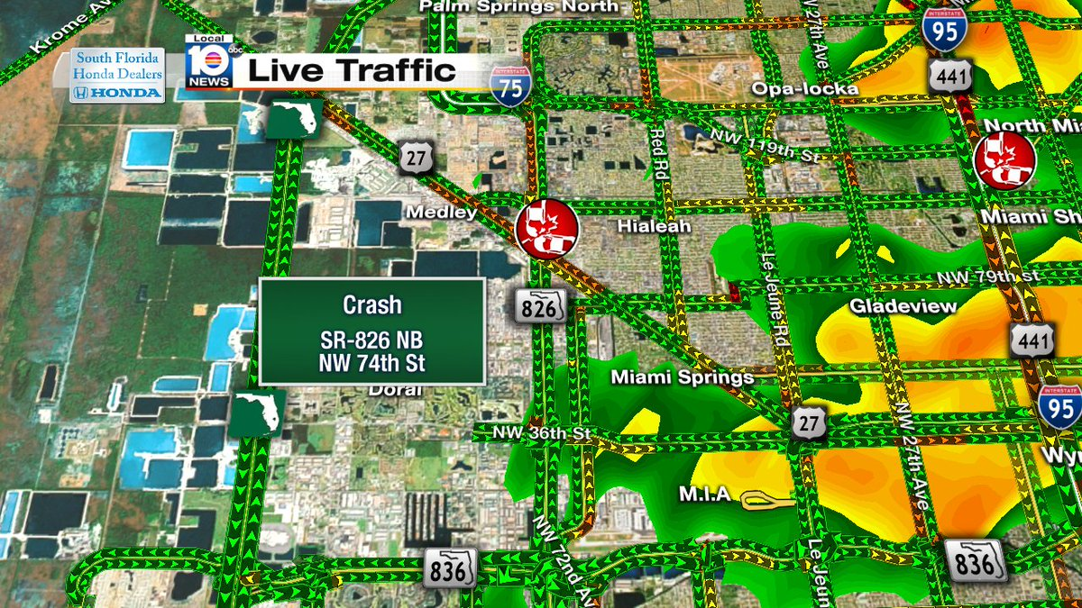 Crash On Sr 826 Nb And Nw 74th St Traffic Miami Https