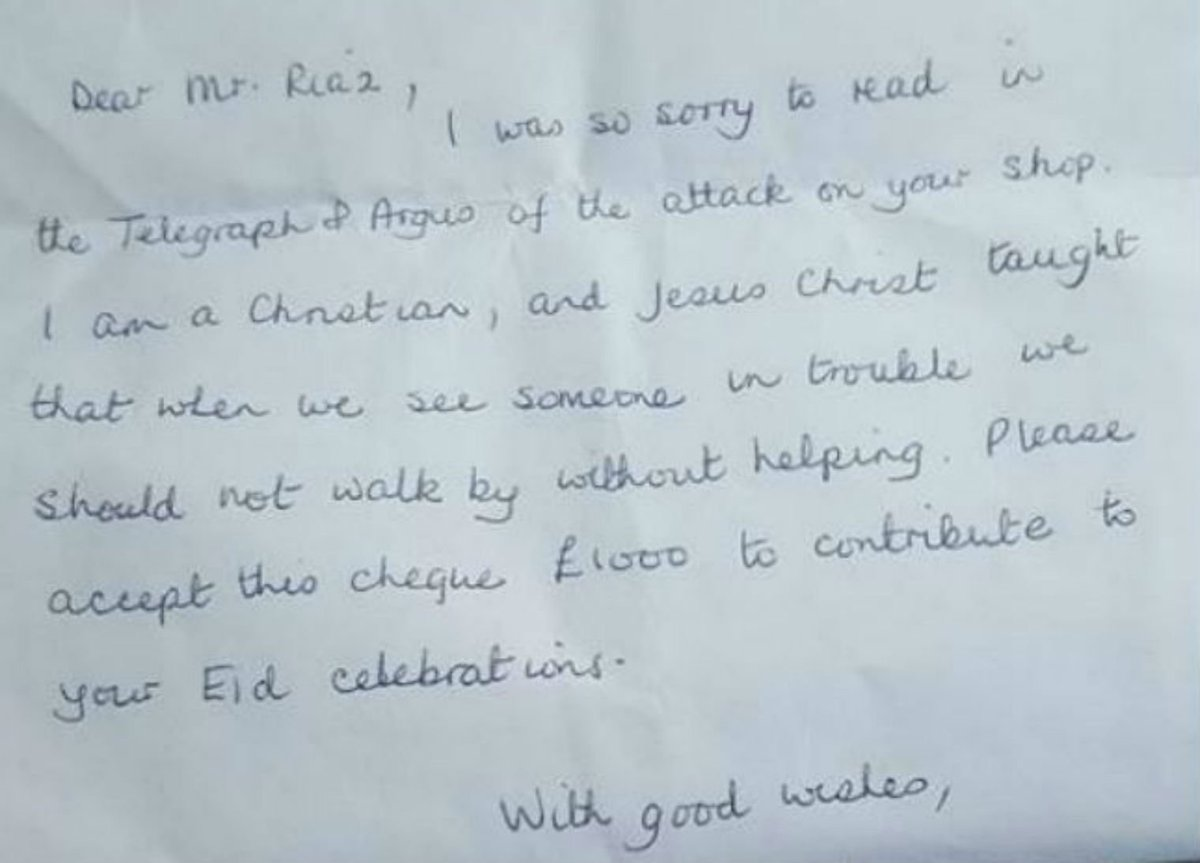 A Christian woman gave £1000 to this Muslim family after their shop was attacked