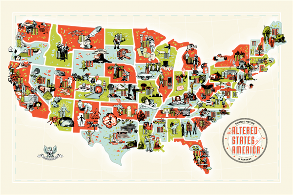 The altered states of america: a cool map of usa for a sci fi and