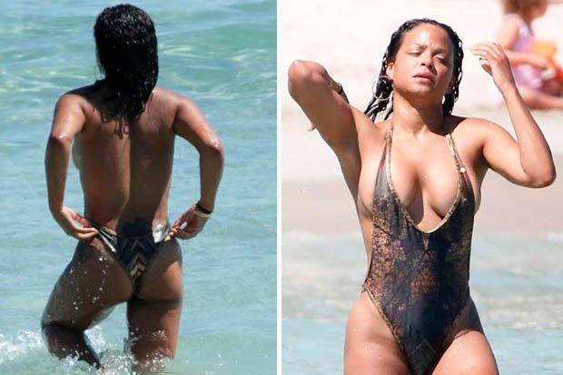 whoops – @christinamilian suffers nip slip in revealing swimsuit