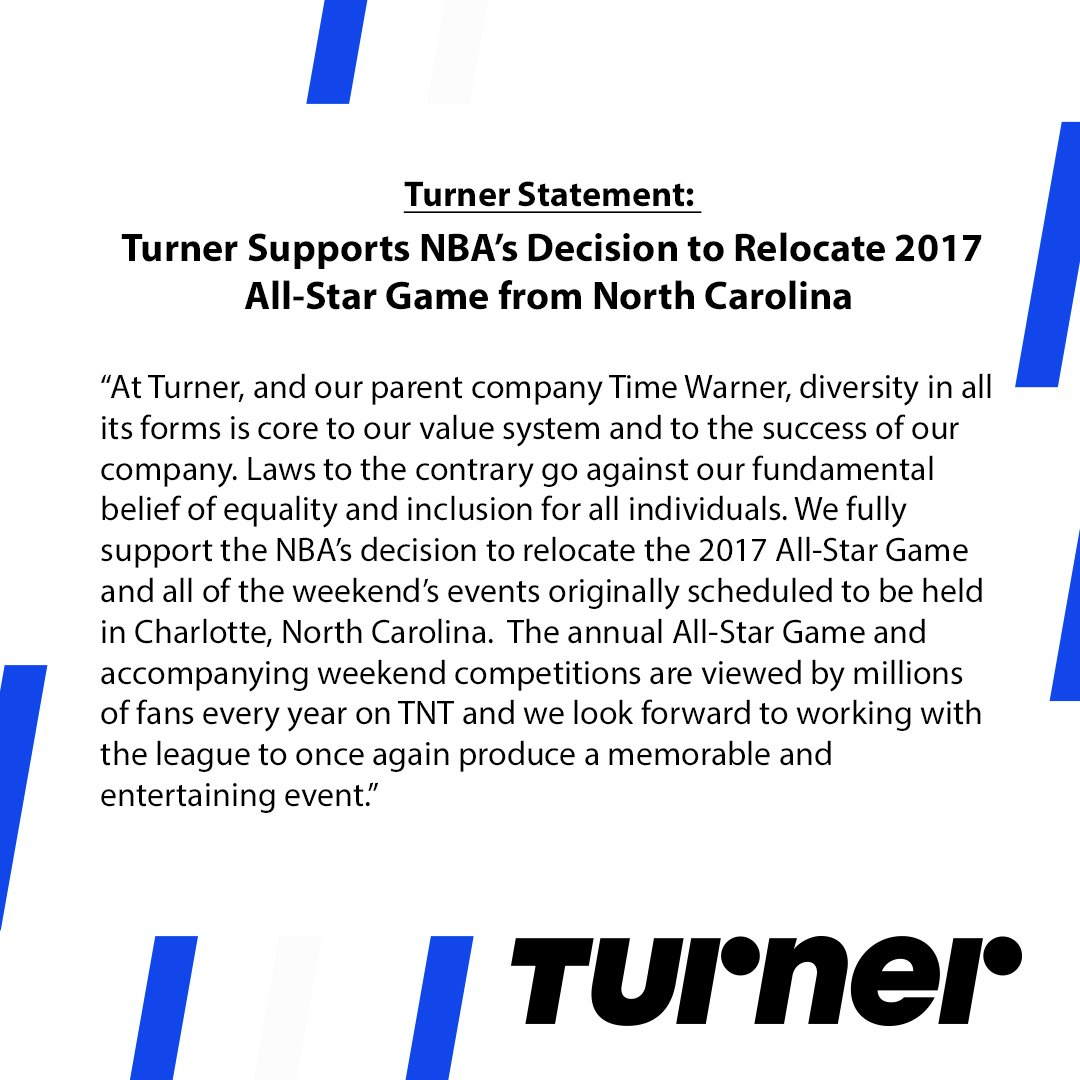 Turner Supports NBA's Decision to Relocate 2017 All-Star Game from North Carolina https://t.co/26q4uETbAH