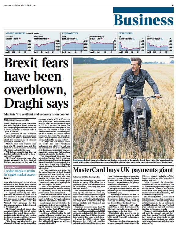 Tomorrow's @TimesBusiness front page: Brexit fears have been overblown, Draghi says #tomorrowspaperstoday https://t.co/df58WAaZYA