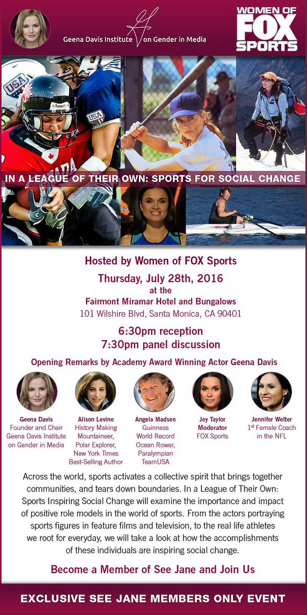 Yes 2 this! Pls join me, Geena Davis, @JoyTaylorTalks, Jennifer Welter, @msparasurfer, @GDIGM, & @FOXSports on 7/28. https://t.co/J5j65bbAWD