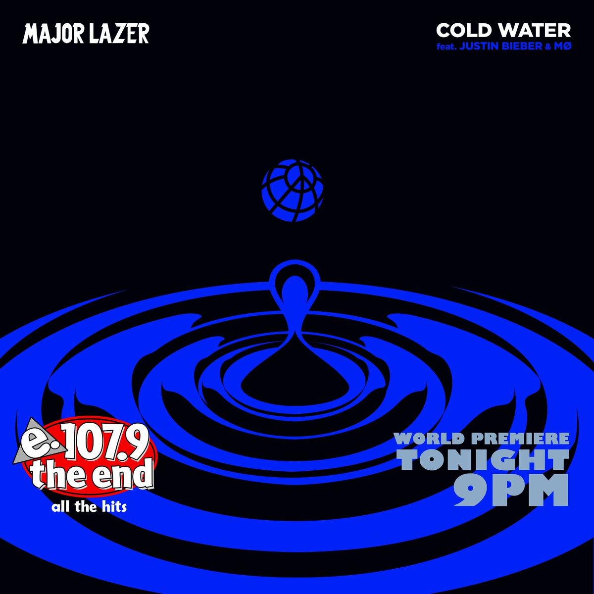 "Tonight at 9pm on 107.9 The End hear the world premiere of @justinbieber and @MAJORLAZER's new song ""Cold Water""! https://t.co/Jp2JKyD1bS"