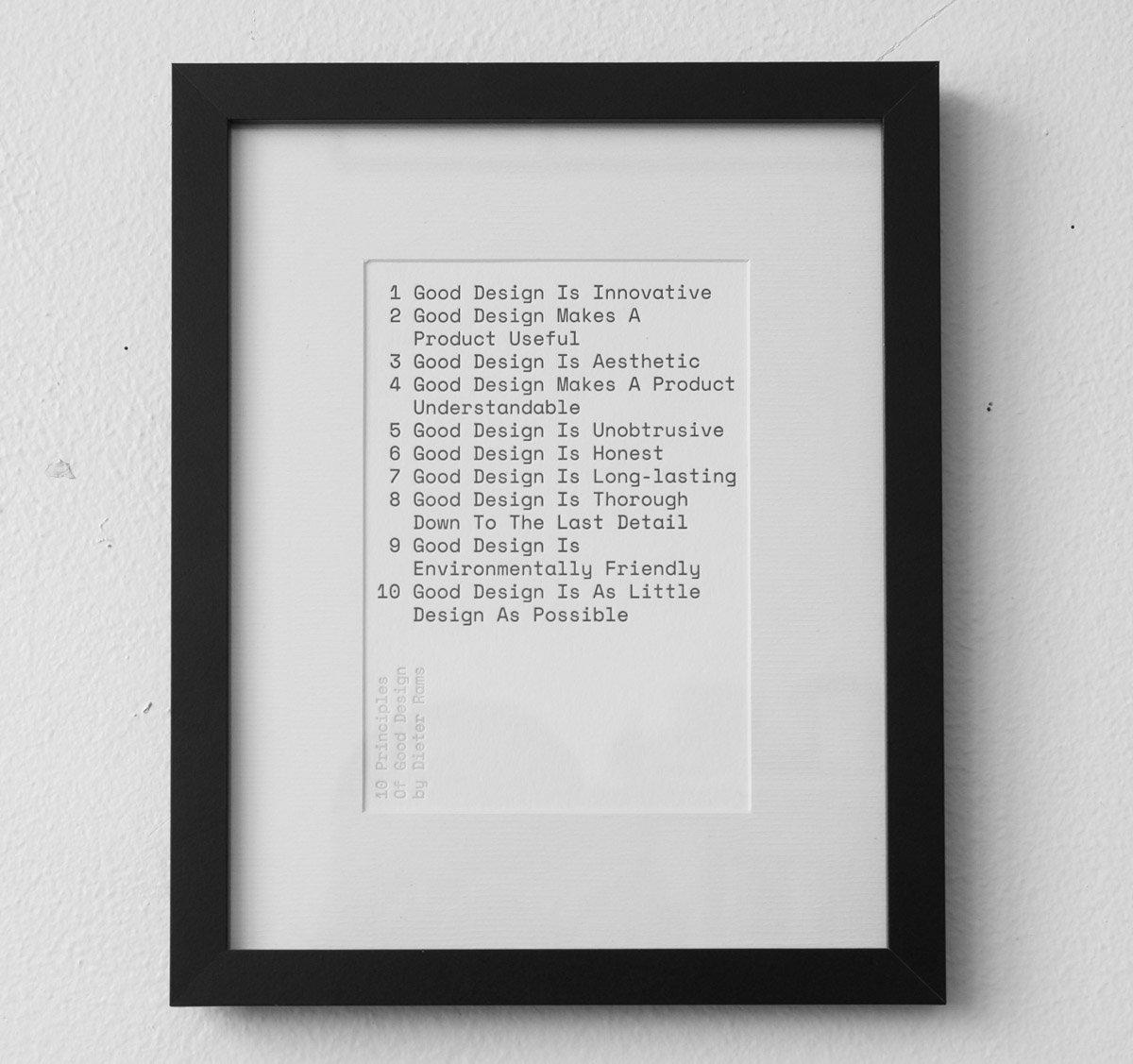 "Oooh this is nice. Framed Dieter Rams ""10 Principles of Good Design"" by @wearebuild. https://t.co/P5vKo5mkyZ https://t.co/h1b3VLz5br"