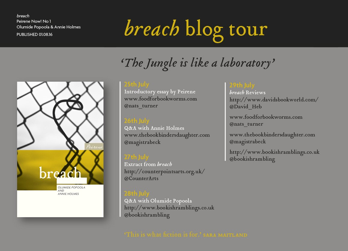 Next week: a blog tour on Peirene Now! No1, breach, feat. @nats_turner @magistrabeck @CounterArts @bookishrambling https://t.co/dhz4DkbBD6