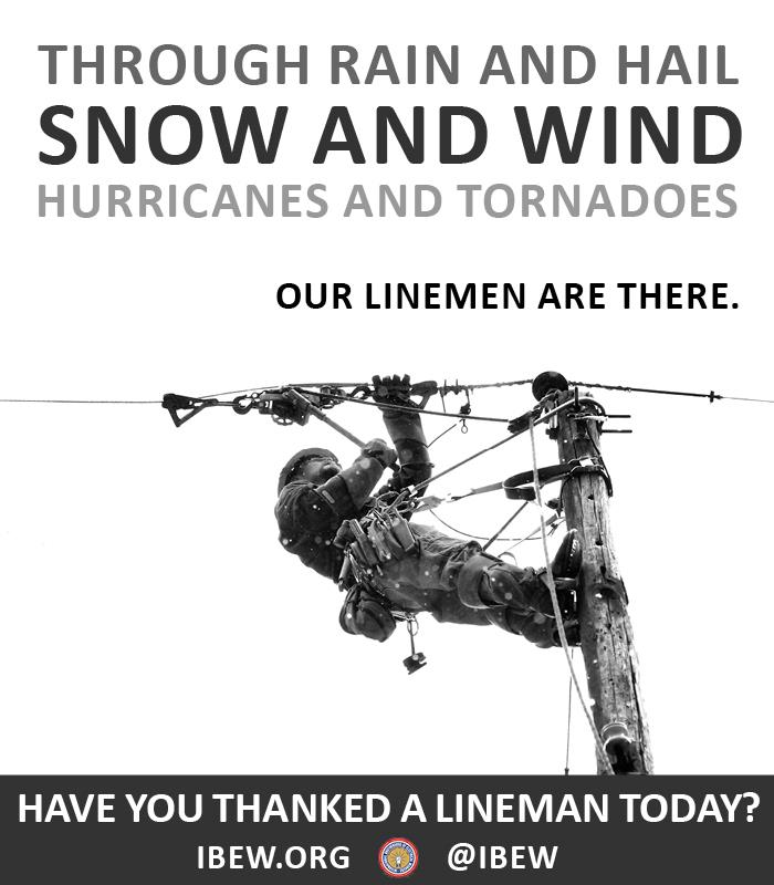 Today is National Lineman Appreciation Day. Have you thanked a lineman yet? #ThankALineWorker https://t.co/zENF3AOUTe