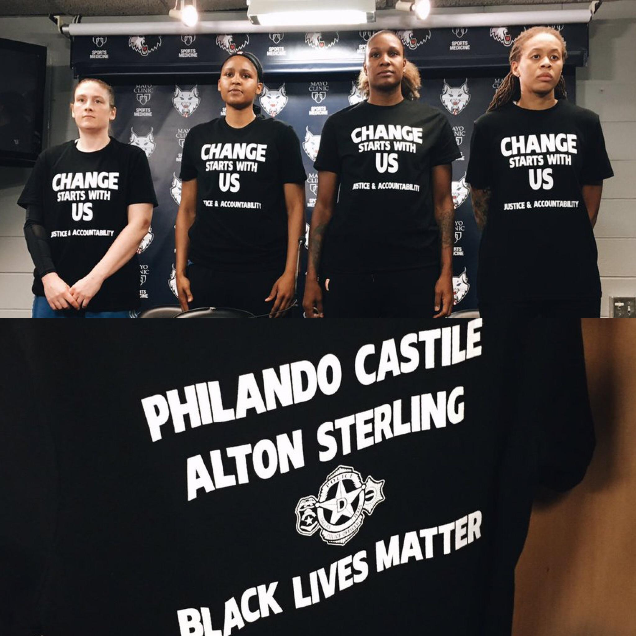 Lynx players wear warm-up shirts to honor victims of the shootings from this past week. (via @minnesotalynx) https://t.co/cAzYfmjWFU