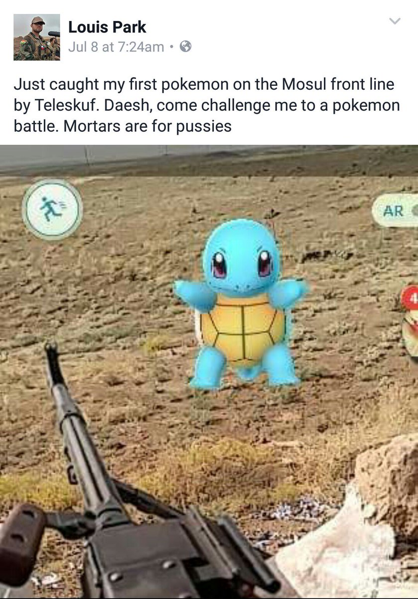 American volunteer fighting ISIS with the Kurdish militias caught his first pokeman on the Mosul front line. #poke https://t.co/PMbdYaIYqJ