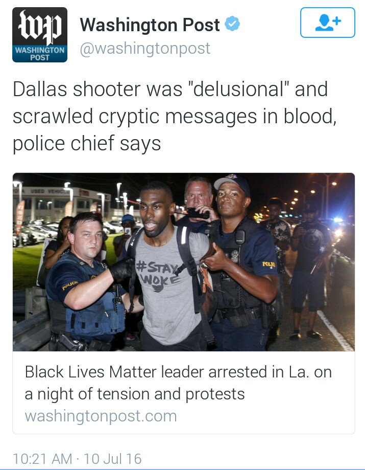 Be careful of the deliberate misinformation being spewed by the mainstream media. @Deray is NOT the #Dallas shooter https://t.co/uP8zosmOD3