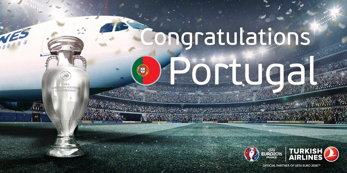 What an amazing tournament it has been! Congratulations to the #EURO2016 champions #POR! https://t.co/aRUZIFV2qk