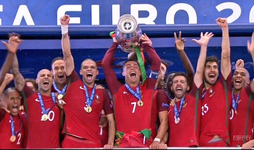 @Cristiano #celebrates #Portugal winning #Euro2016